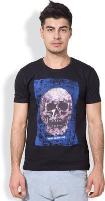 Locomotive Printed Men's Round Neck Black T-Shirt