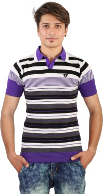 Igsmart Self Design Men's Polo Neck Purple T-Shirt