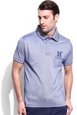 Harvard Solid Men's Polo Neck Blue T-Shirt