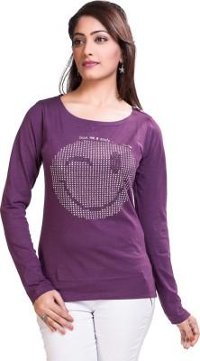 TVENO Printed Women's Round Neck Purple T-Shirt