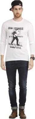 Cali Republic Printed Men's Round Neck White, Black T-Shirt