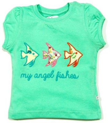 Solittle Embroidered Baby Girl,s Round Neck Light Green T-Shirt