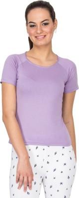 Le Bison Printed Women's Round Neck Purple T-Shirt