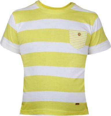 VITAMINS Striped Boy's Round Neck Light Green T-Shirt