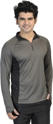 T10 Sports Solid Men's Fashion Neck Grey T-Shirt