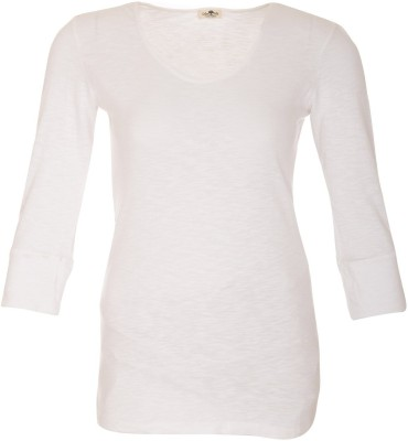 A33 Store Solid Women's Round Neck White T-Shirt