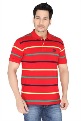 Greenfibre Striped Men's Polo Neck Red T-Shirt