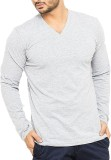 Illuzion Solid Men's V-neck Grey T-Shirt