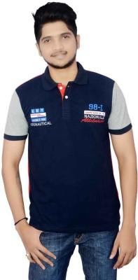 Lemon Slice Solid Men's Polo Neck Dark Blue, Red T-Shirt