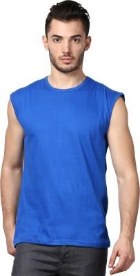 Inkovy Solid Men's Round Neck Blue T-Shirt