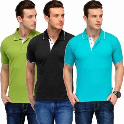 Scott International Solid Men's Polo Green, Light Blue, Black T-Shirt