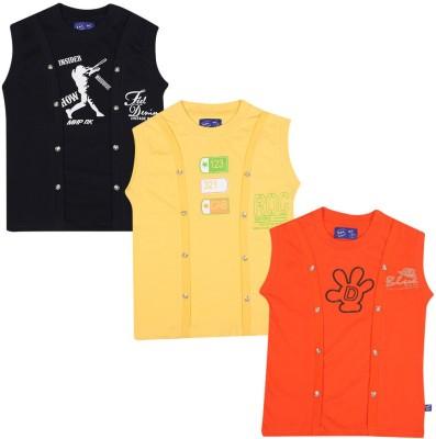 SPN Garments Printed Girl,s Round Neck Black, Yellow, Orange T-Shirt