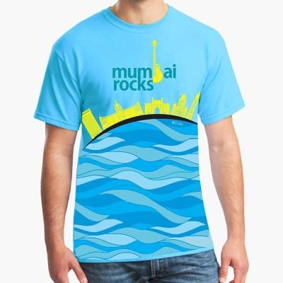 Vagabond Creations Graphic Print Men's Round Neck Light Blue T-Shirt