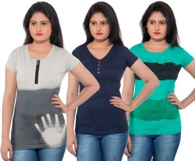 Feminine Solid Women's Round Neck Multicolor T-Shirt