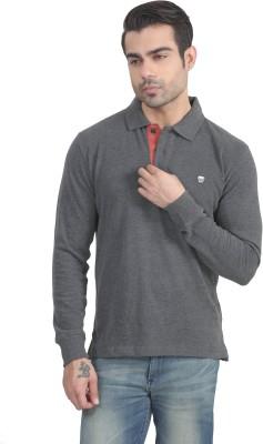 John Players Solid Men's Polo Neck Grey T-Shirt