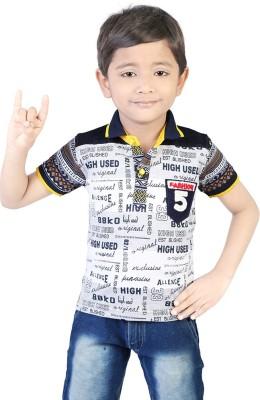 Koolkids Printed Boy's Flap Collar Neck Yellow T-Shirt