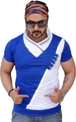 Black Collection Solid Men's Flap Collar Neck Blue T-Shirt