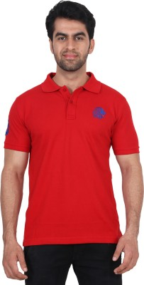 Fashcom Solid Men's Polo Red, Blue T-Shirt