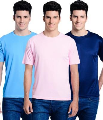 Superjoy Solid Men's Round Neck Light Blue, Dark Blue, Pink T-Shirt