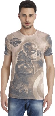 Jack & Jones Printed Men's Round Neck Brown T-Shirt