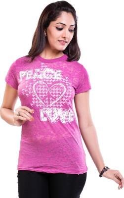 TVENO Self Design Women's Round Neck Pink T-Shirt