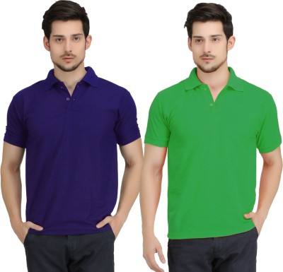 Krazy Katz Solid Men's Polo Neck Blue, Light Green T-Shirt