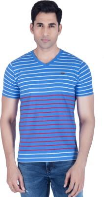 Lawman Striped Men's V-neck Blue T-Shirt