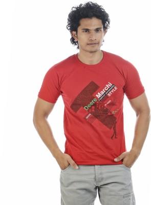 Adventure Printed Men's Round Neck Red T-Shirt