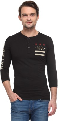 Wear Your Mind Printed Men's Henley Black T-Shirt