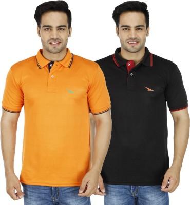 PRO Lapes Solid Men's Polo Neck Black, Orange T-Shirt