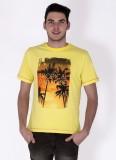 Sera Printed Men's Round Neck Yellow T-S...