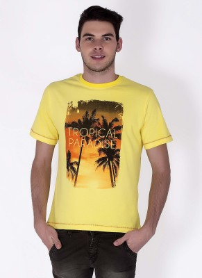 Sera Printed Men,s Round Neck Yellow T-Shirt