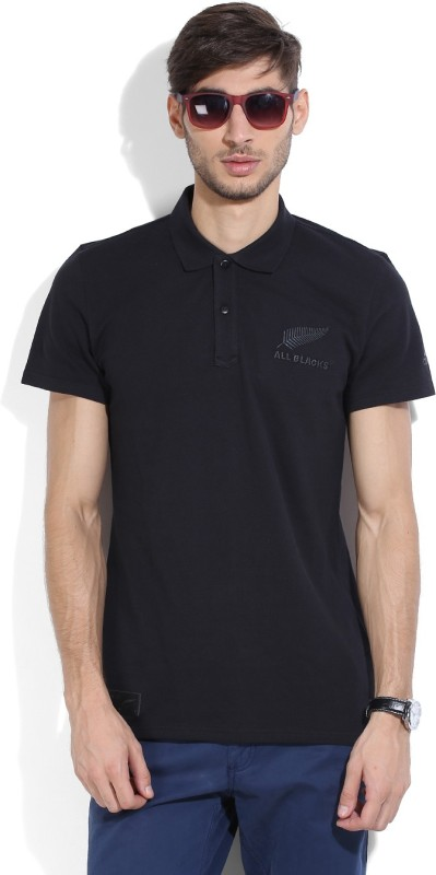 Adidas Solid Men's Polo Neck Black T-shirt