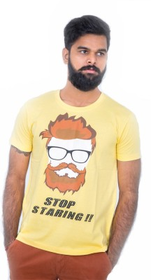 Hipsters Printed Men's Round Neck Yellow T-Shirt