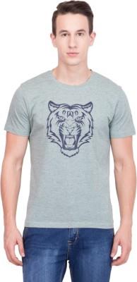 99Hunts Printed Men's Round Neck Grey T-Shirt