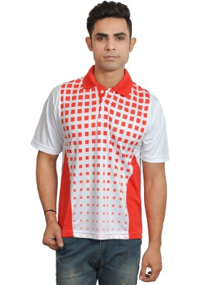 Set Printed Men's Polo Neck White, Red T-Shirt