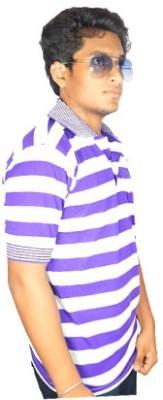 Desi Connection Striped Boy's Polo Purple T-Shirt