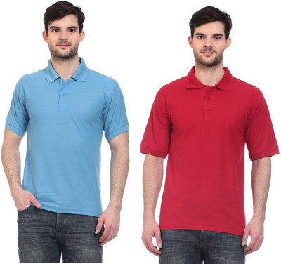 Blue-Tuff Solid Men,s Polo Neck Light Blue, Red T-Shirt