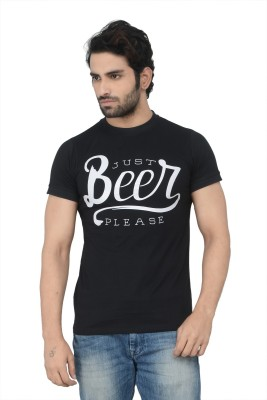 Karnik Couture Printed Men's Round Neck Black T-Shirt