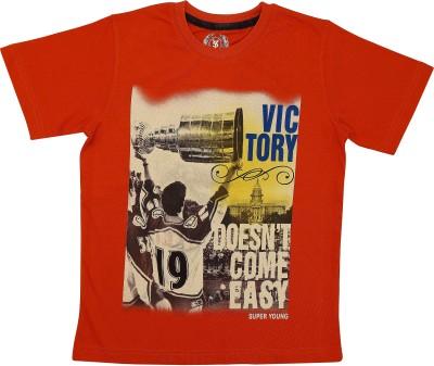 SuperYoung Graphic Print Boy's Round Neck Orange T-Shirt
