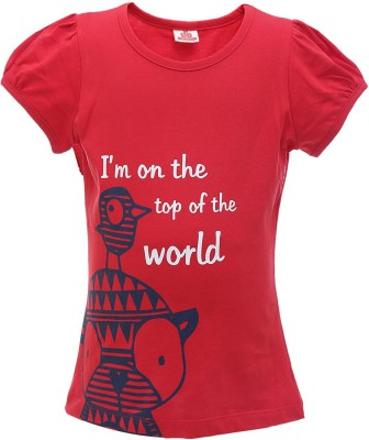 UFO Printed Girl's Round Neck Red T-Shirt
