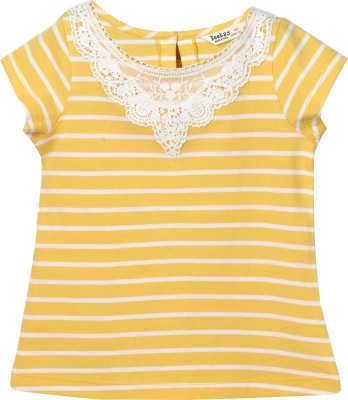 Beebay Embroidered Baby Girl's Round Neck Yellow T-Shirt
