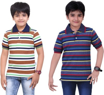 Dongli Striped Baby Boy's Polo Neck Dark Green, Blue T-Shirt