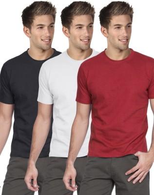 Blackburne Inc Solid Men's Round Neck Black, White, Red T-Shirt