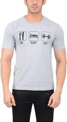 Thread Swag Printed Men's Round Neck Grey T-Shirt
