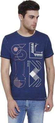 Slub By INMARK Geometric Print Men's Round Neck Dark Blue T-Shirt