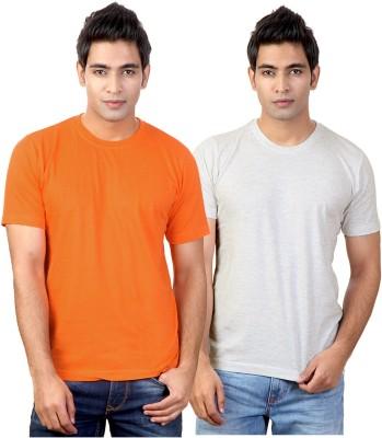Top Notch Solid Men's Round Neck Orange, White T-Shirt