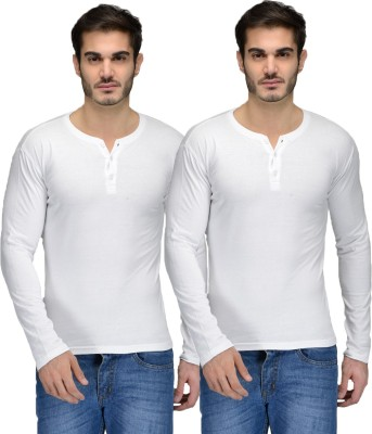 Feed Up Solid Men's Henley White, White T-Shirt