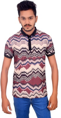 BOMBAY BLUES Graphic Print Men's Polo Neck Black T-Shirt