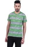 PlusS Striped Men's Polo Neck Green T-Sh...